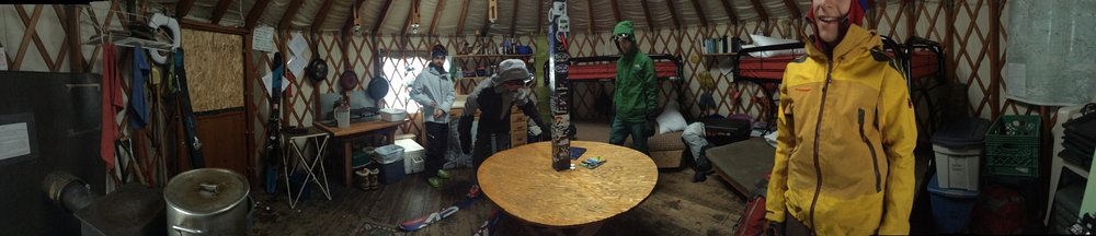 Inside the yurt - cozy.