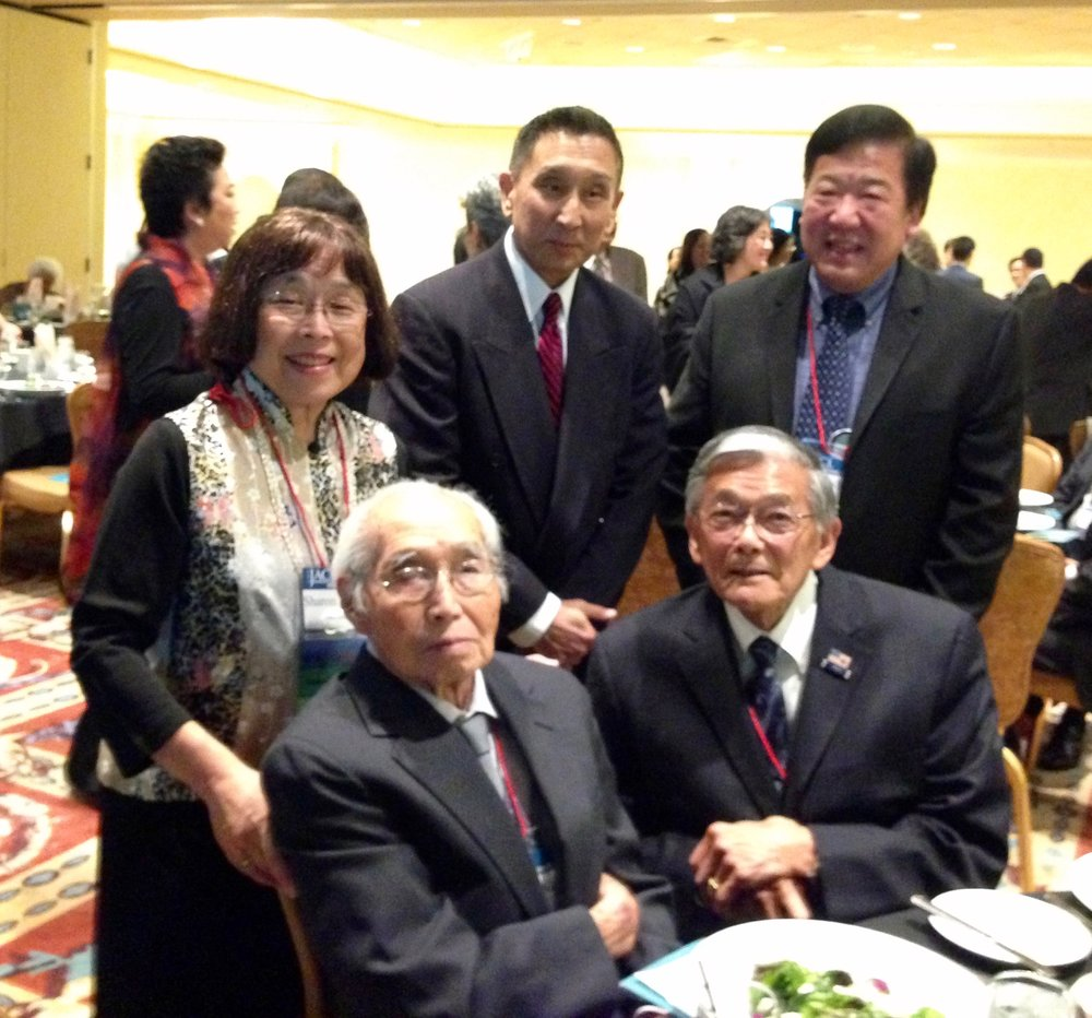 Sayonara Banquet - Back: Sharon Uyeda, Neil Kozuma, Bill Tashima. Front: Henry Uyeda and Norman Mineta