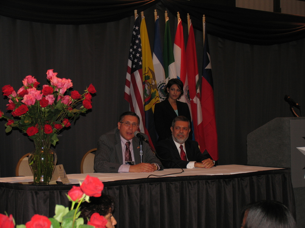 Left to right:  Ricardo M. Bowen, Honorary Consul General of Ecuador; H.E. Enrique Hubbard, Consul General of Mexico