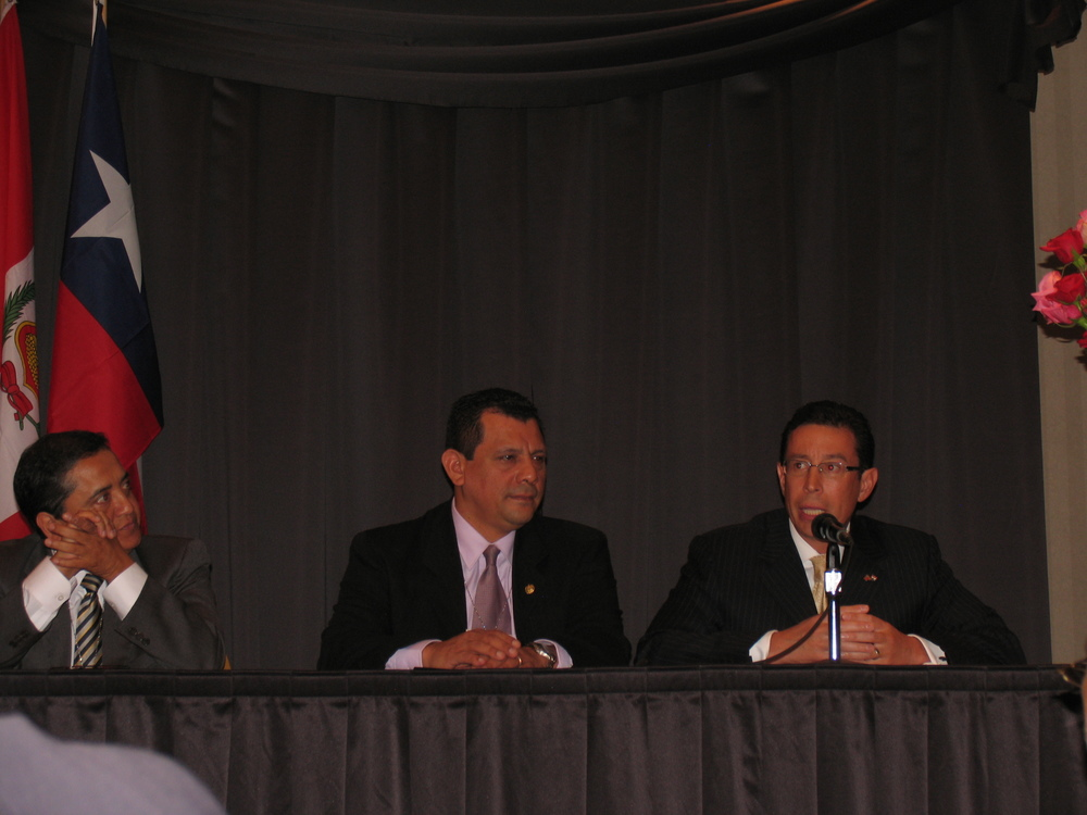 Left to right:  H.E. Luis Sándiga, Abassador, Consul General Peru; the Honorable Mario Roger Ph.D, Consul General El Salvador; Richard Gonzalez, Honorary Consul of Paraguay
