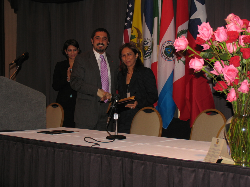 Left to right:  Amir Mirabi, Economic Development Office of the Governor of Texas; Patricia Moore, COO Sentrum International