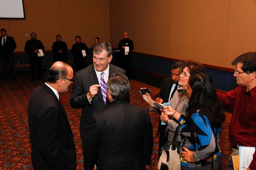 Jose Octavio Tripp Villanueva, Consul General of Mexico in Dallas; City of Dallas Mayor Mike Rawlings, and H.E. Eduardo Medina Mora-Icasa, Ambassador of Mexico interviewed by media.