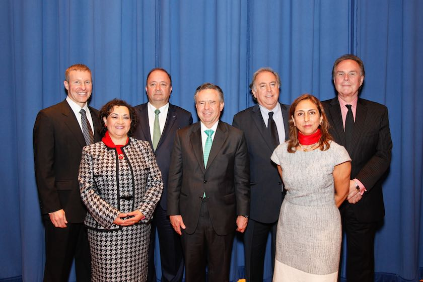 Front Row- Left to right:  Ana Reymundo, Director AA Nexos Magazine; H.E. Eduardo Medina Mora-Icasa, Ambassador of Mexico; Patricia Moore, COO Sentrum International   Back Row Left to right: Scott Kirby, President American Airlines; H.E. Luis Carlos Villegas, Ambassador of Colombia; H.E. Juan Gabriel Valdés, Ambassador of Chile; H.E. Harold Forsyth, Ambassador of Peru