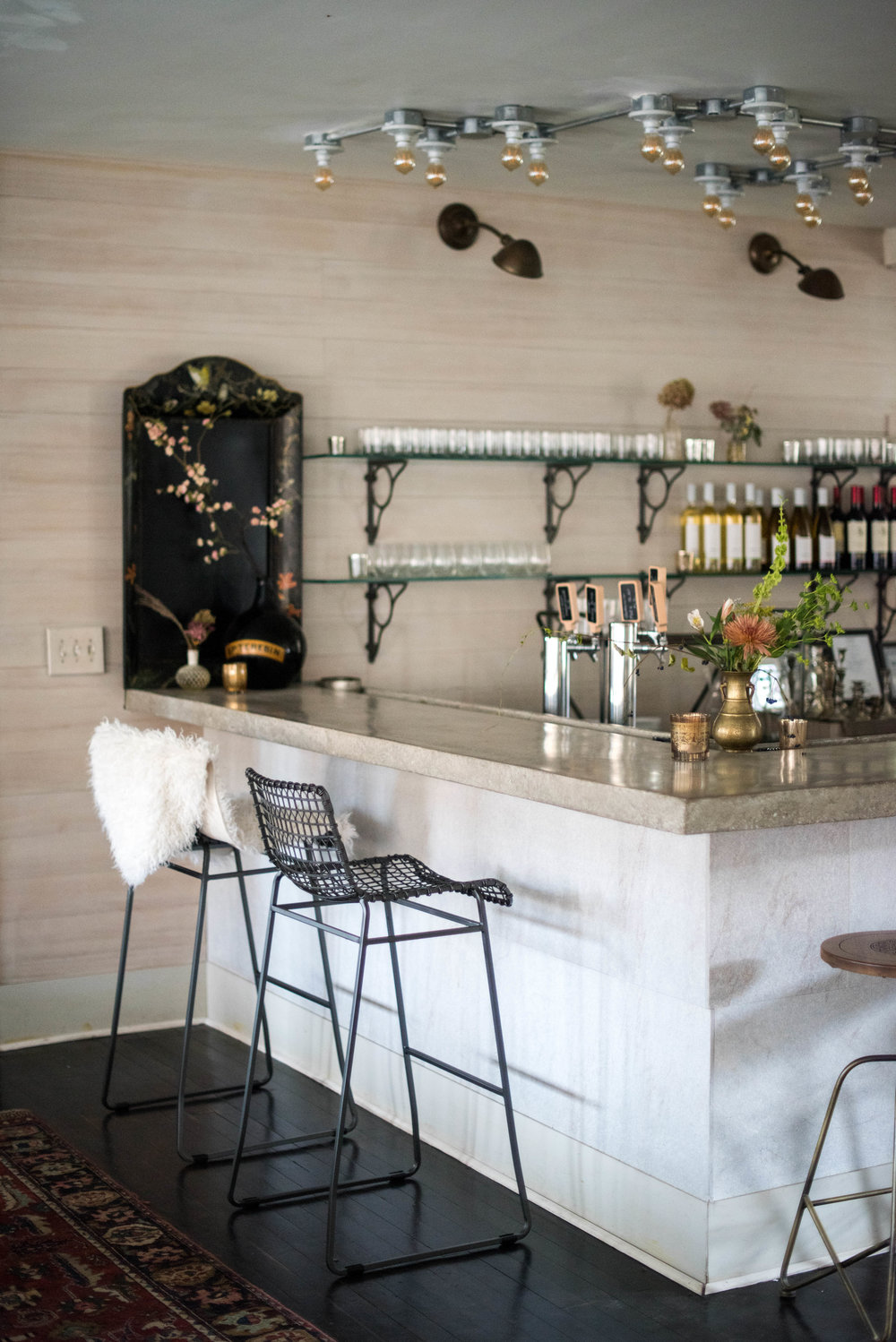 The handmade concrete bar at Foxfire Mountain House, Image: Sweet Root Village