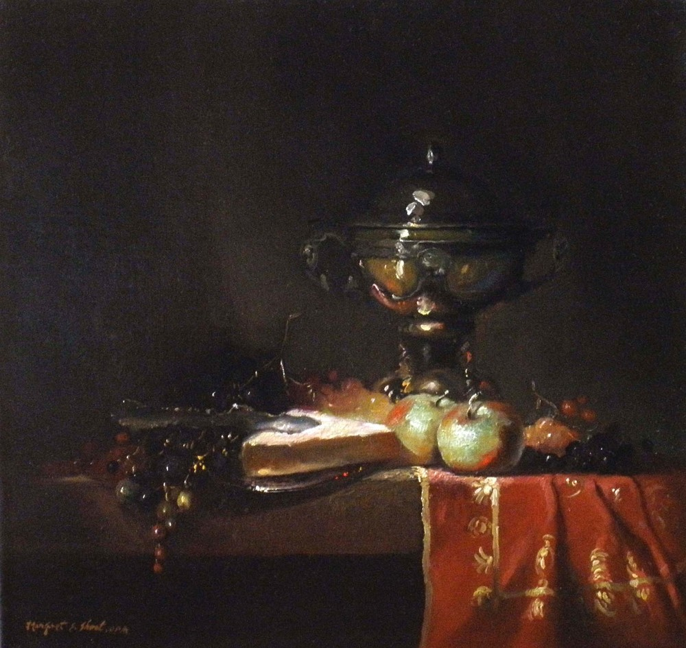 ROSSO AND VERDE  Oil on Linen / 15″ x 16″