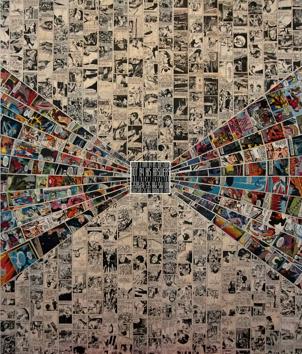 "ANWSERS  / 40"" X 47"" / Collage"