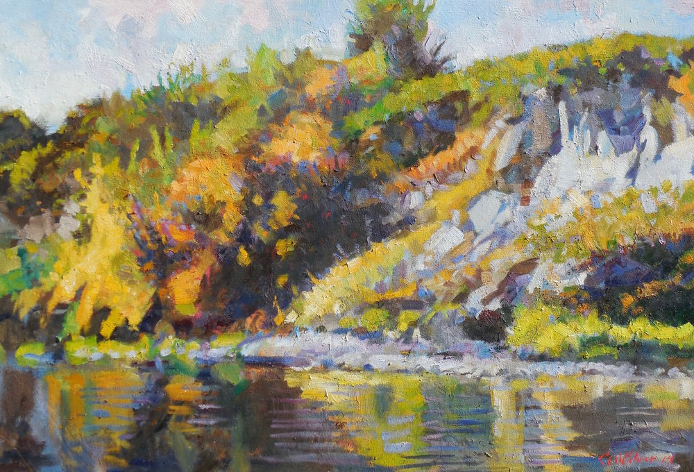 AUTUMN SHORELINE AT FT SPOKANE   25″ x 35″ / Acrylic