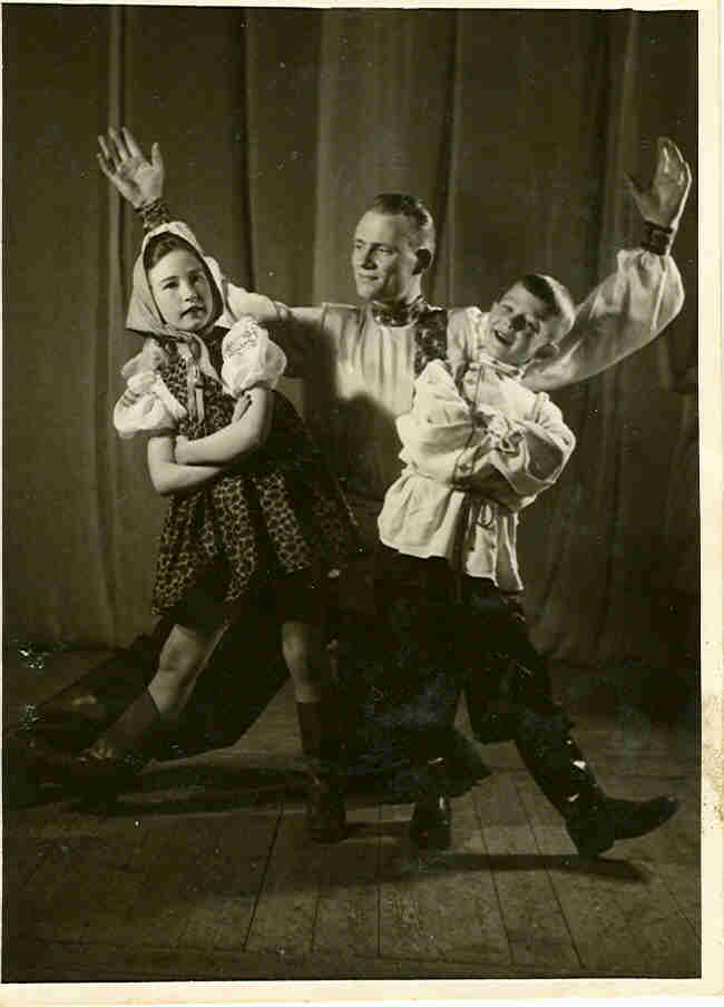 LEO IN 1948 IN HIS FIRST RUSSIAN DANCE WITH AULI AUVINEN (L) AND EINO JANTUNEN (M)