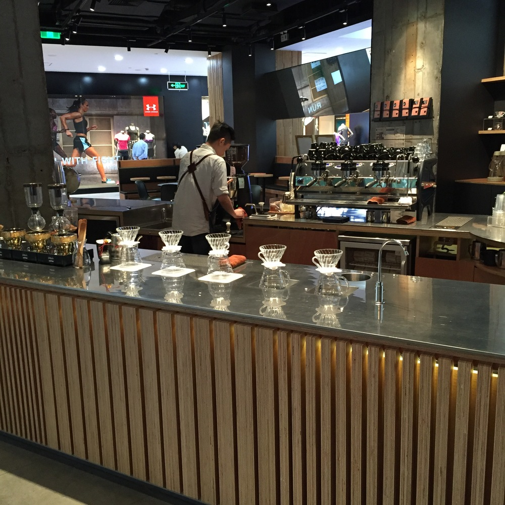 Siphon bar, pour over bar, three group La Marzocco Strada, and dual Mazzer Robur's welcomed me in.