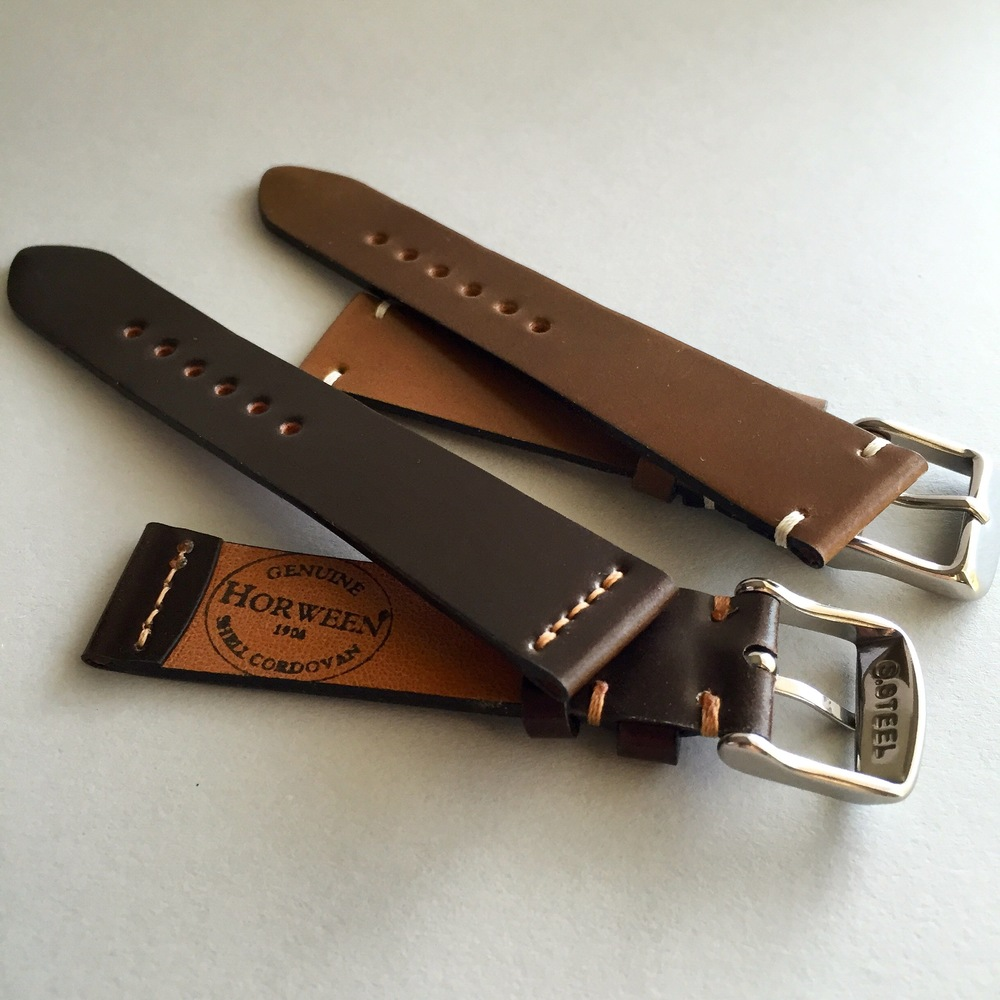 Simple, vintage style watch straps in Horween Shell Cordovan leather.