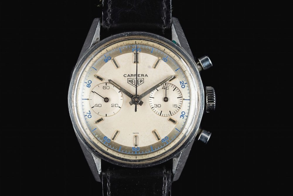Great sharp case, early swiss only dial with metallic pie pan decimal track, this one has a lot going for it... at the right price.  Photo courtesy of FS listing, click through for more info.