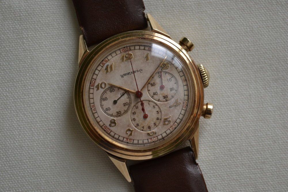 Solid Gold, 3 register, Breguet numerals, column wheel, should I go on? Photo courtesy of FS listing, click through for more info and pics.