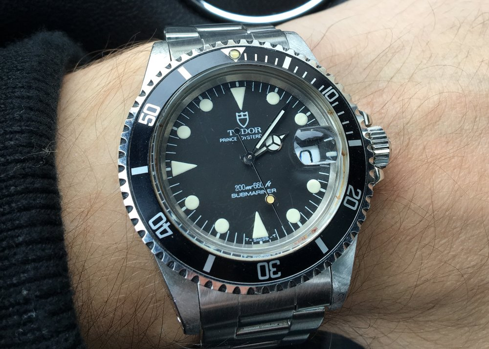 Tudor has not been shy about resurrecting past models in recent years with their Heritage line.  Nat recently picked up this stunner of a Tudor sub for fractions of what a comparable Rolex Submariner would cost.