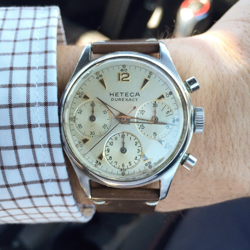 When I found this no-namer I was laughably thinking of a boasting for sale listing detailing how closely related it is to the great vintage chronographs of the 1960's because it shares a similar case size and a Valjoux 72 movement. -ct