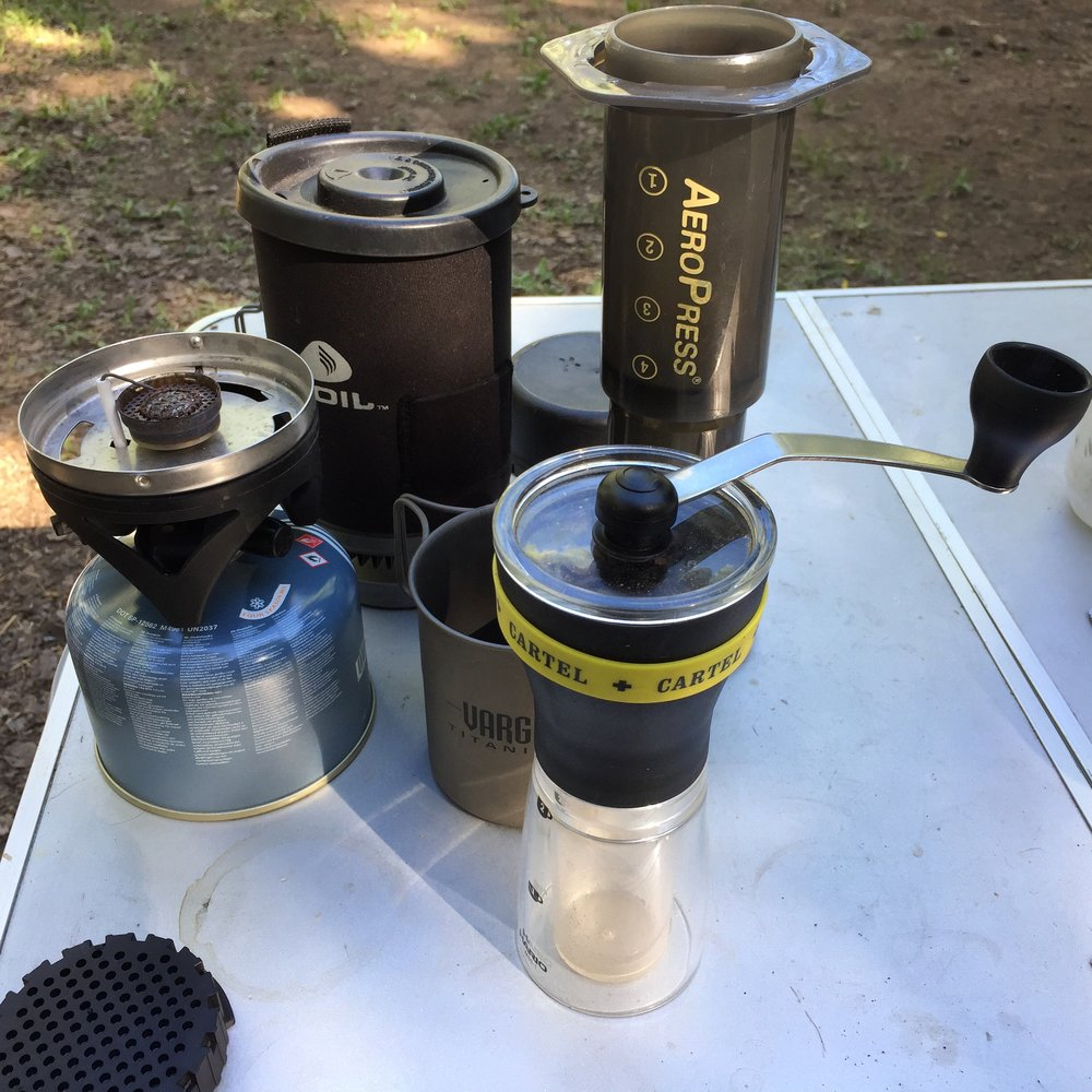 The camp setup running Acid Test through the Aeropress.