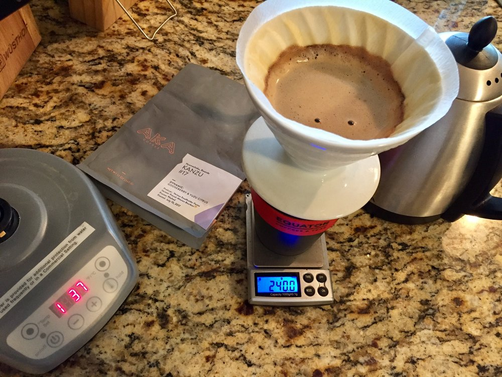 I love my trusty Bonavita Variable Temperature Kettle, it times the brew too! Click through for more info and to purchase one