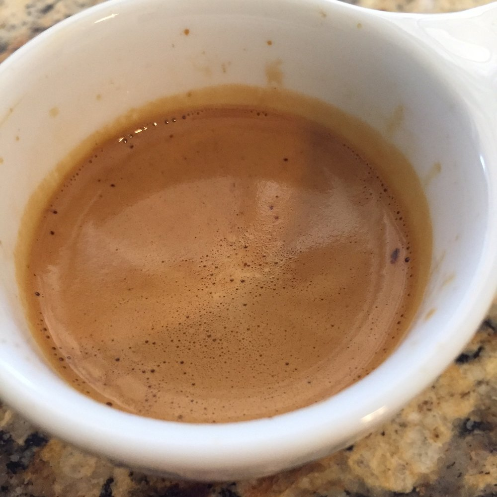 Very light color crema from a more filter oriented coffee. Shots were tricky but rewarding when hit right.