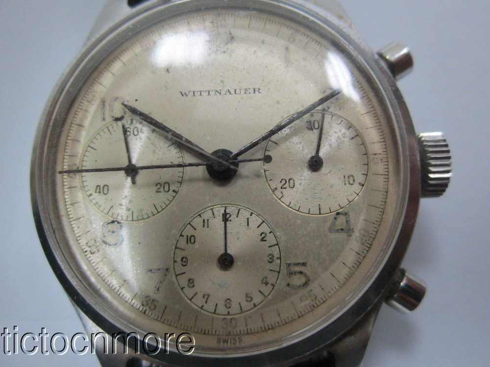 I love these early chronographs that don't have lume and are just very legible and clean. The blued steel hands and drop tail seconds should look really good once cleaned up. Photo courtesy of eBay listing, click through for more info.