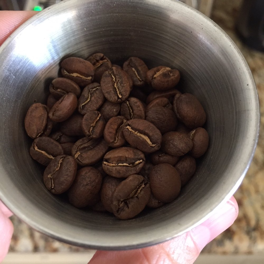 Pretty large beans with a rich reddish tint when ground.
