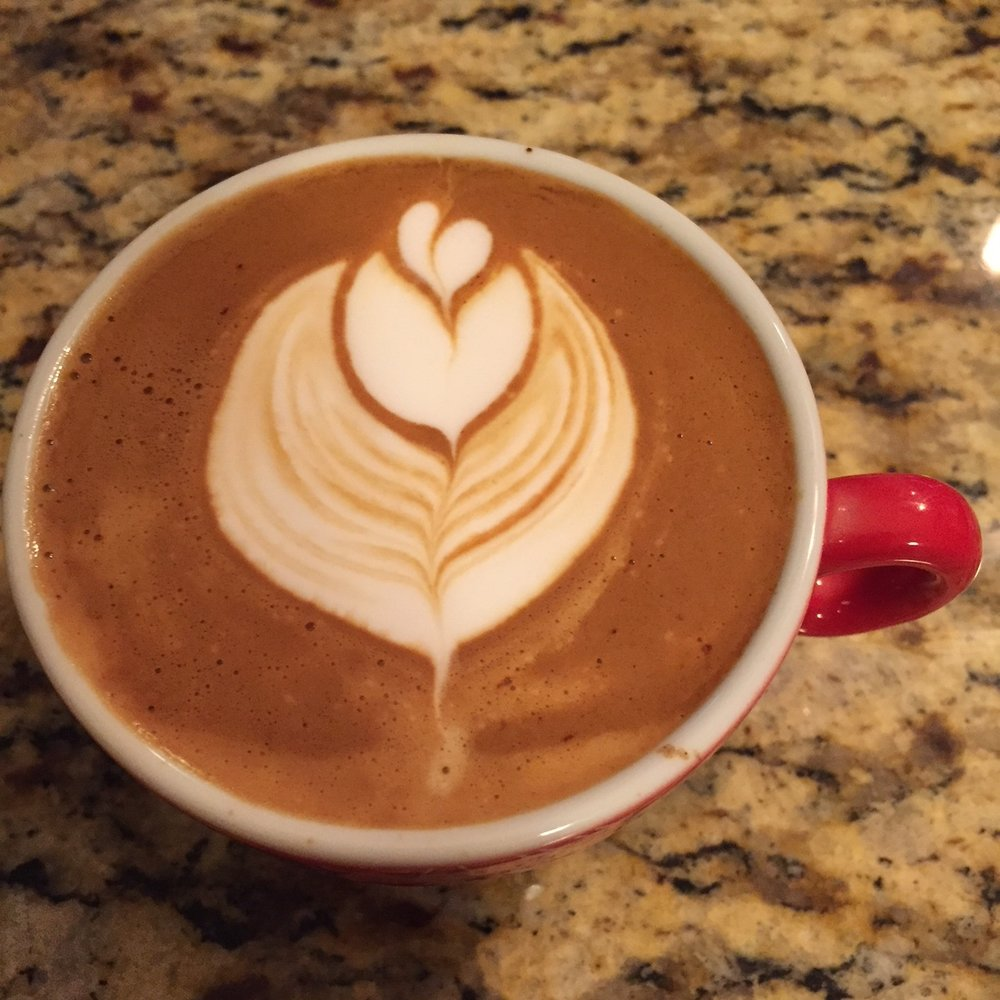 Practicing my latte art - contrast was good here but need to work on the symmetry and cut a bit.