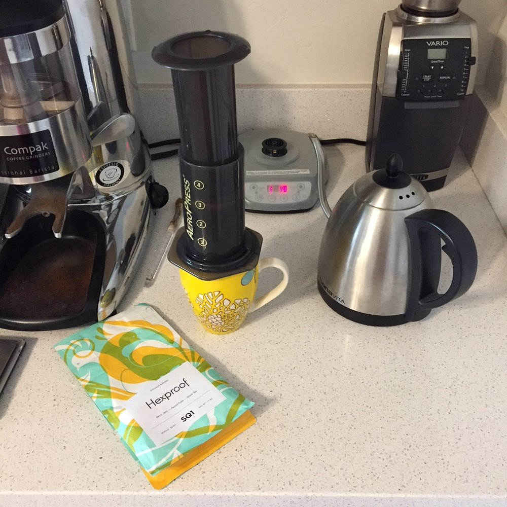 The aeropress really brings out the acidity and produces a more delicate cup.