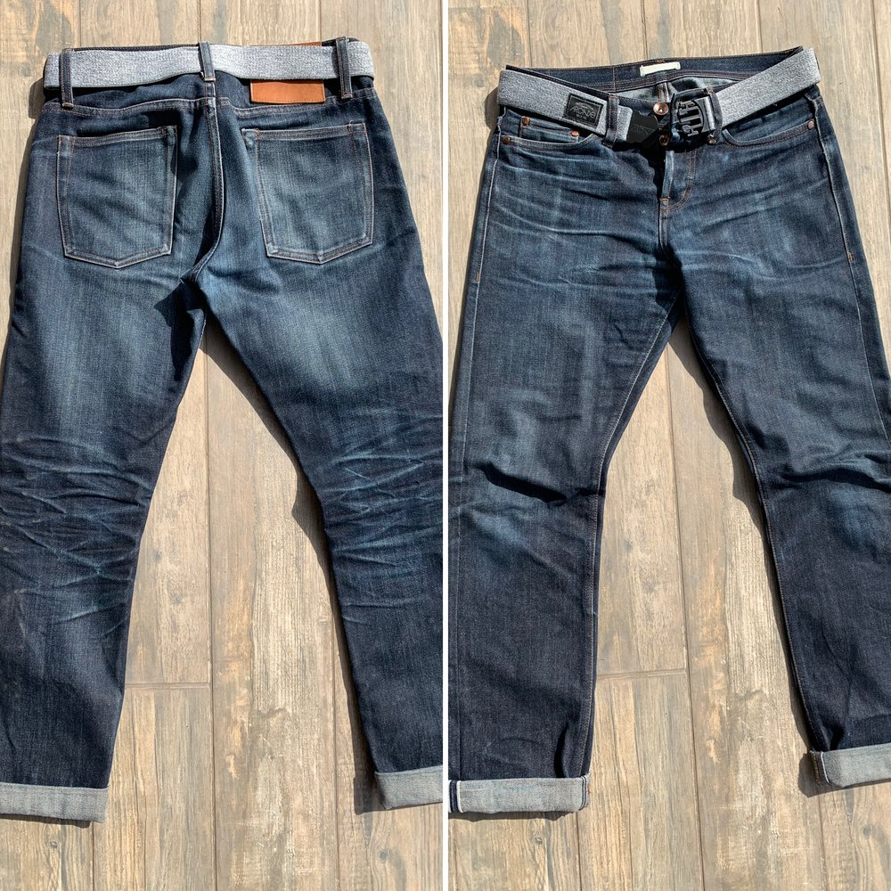"""UB201's in size 29, hemmed to 32"""" inseam, about 4.5 years old and about 4 bathtub soak/washes and 1 gentle cycle machine wash."""