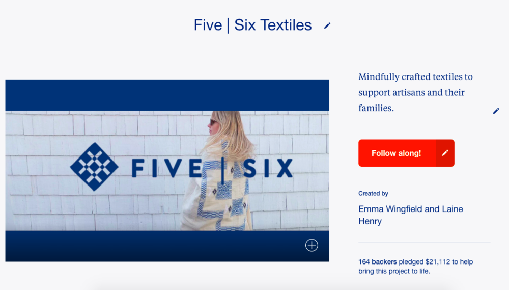 Five | Six Textiles - Kickstarter