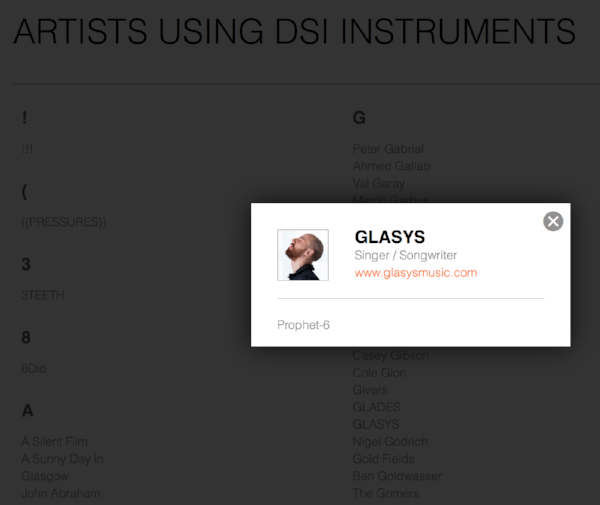 GLASYS on Dave Smith Instrument's endorsed artist list.