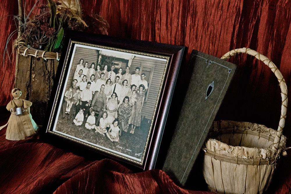 Center: A family portrait taken during a gathering in Anderson County, Kansas in the year 1934. True Midwest photographer, Joseph Maas's mother Alma is seen here during her teenage years; top row, third from the left.  © Joseph Maas, 2016. All rights reserved.