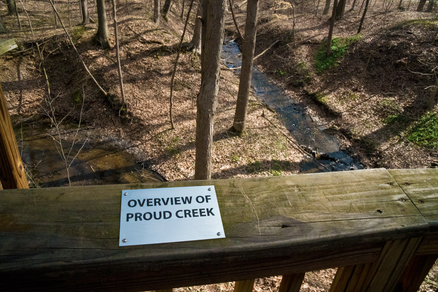 Overlook of Proud Creek from the vista platform 70 feet above. Photo by Joseph Maas