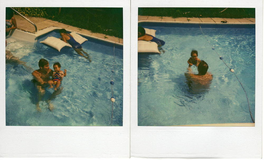 "Me ""swimming"" with dad in my grandmother's pool, resisting the back float.  Long Island, NY circa 1981. Photo: Fox Family Archives/Whitney J. Fox Photography"