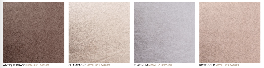Metallic Leather Cover:  Genuine Italian full grain leathers custom made and unique to this supplier.