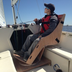 Britt is the first to test the chair under sail.