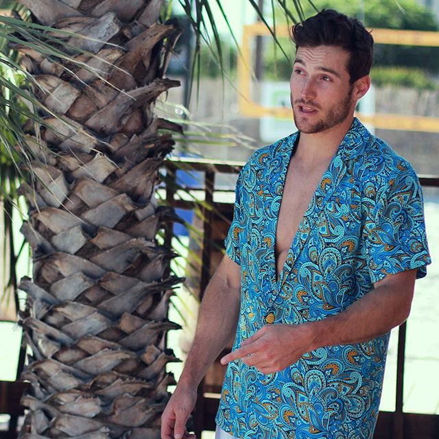 The original Peacock Shirt: Javarama print in blue. Get it now on Kickstarter: bit.ly/PeacockSummer #showyourfeathers #summer #fashion #mensfashion #apparel #beach #poolparty