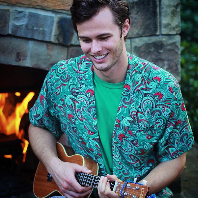 Original Peacock Garrett rocks the 'cock and the uke. Shirt available now on Kickstarter. LINK IN BIO #showyourfeathers #summer #peacock #summer #fun #sun #pool #poolparty #beach #shirt #fashion #mensfashion #apparel