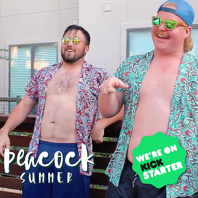 These two Peacocks know how to show their feathers. Get the shirt on Kickstarter. LINK IN BIO #showyourfeathers #peacock #summer #fun #sun #fashion #apparel #mensfashion #shirt #pool #party #poolparty