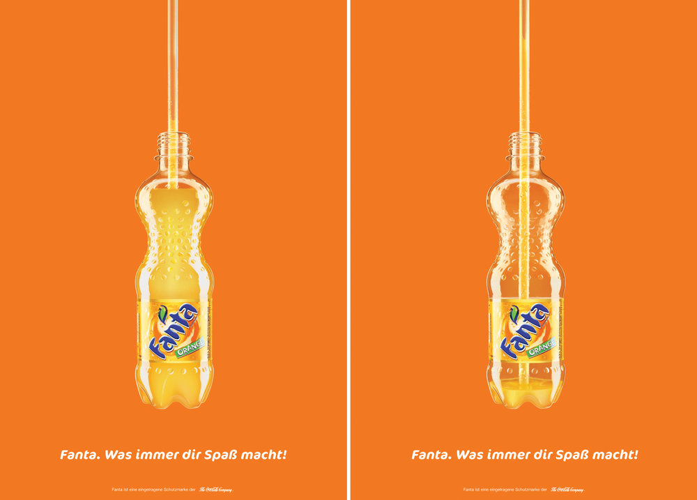 The Fanta posters were printed using lenticular technology that gave the illusion the bottle was emptying as the person passed by.