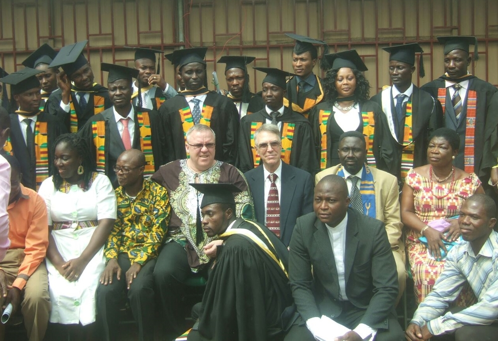 Graduating Class in Ghana 2016. Middle Row Center--Time Cline, Peter Smith, and Francis Asante.