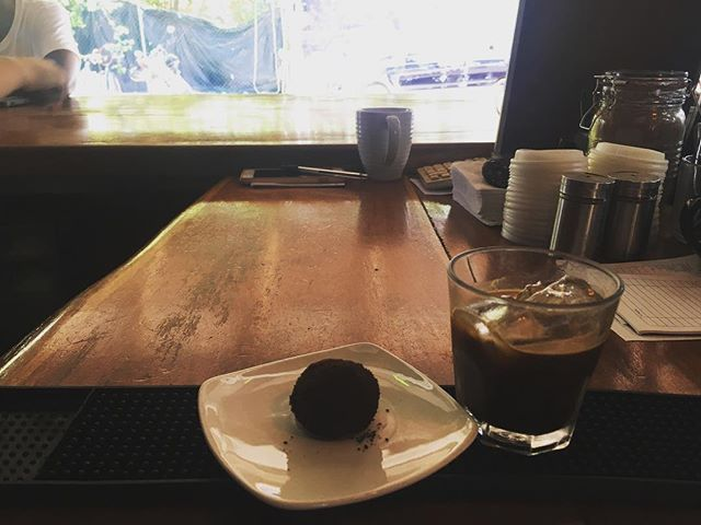 Tequila chocolate ball and iced espresso!