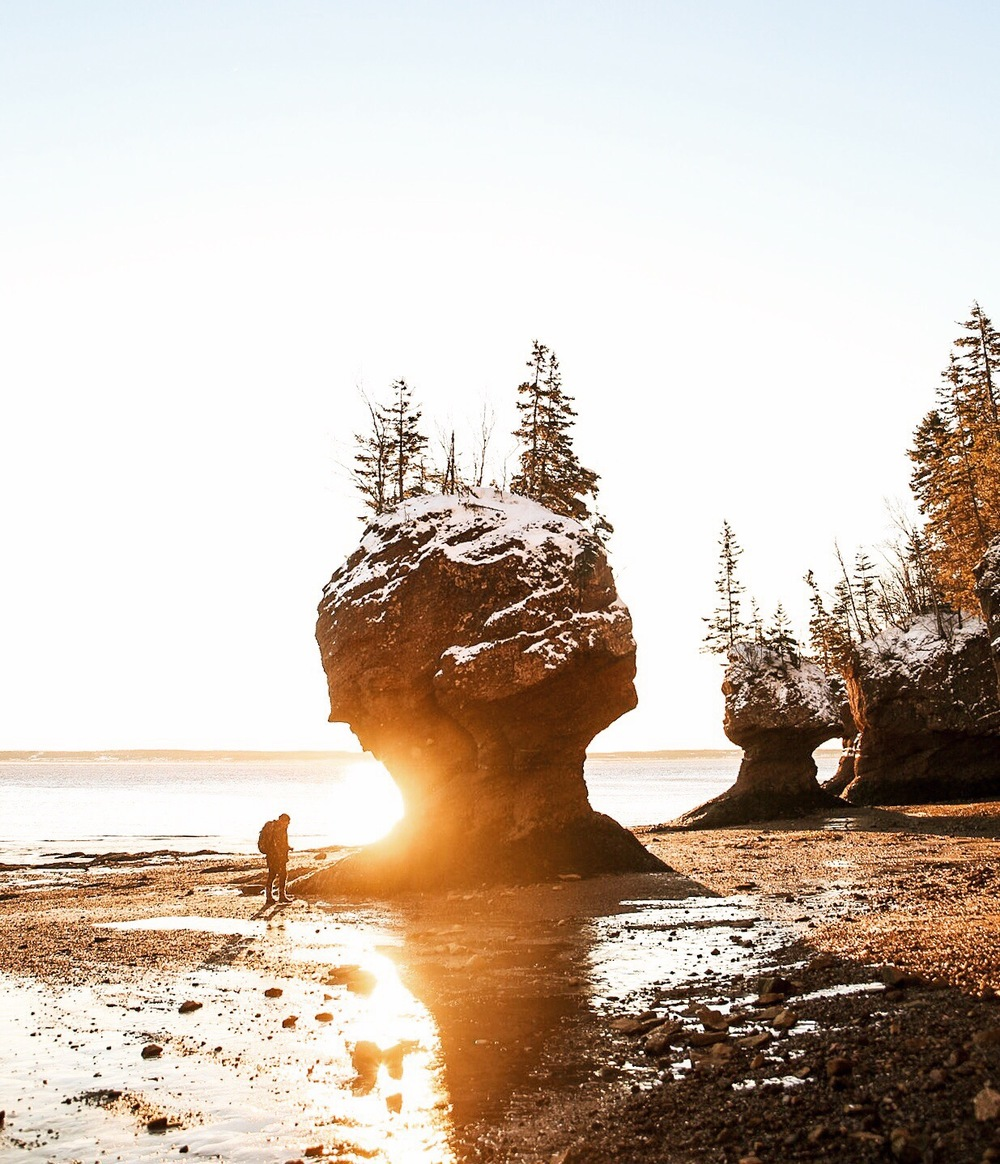 Sunrise at Hopewell Rocks. NB.