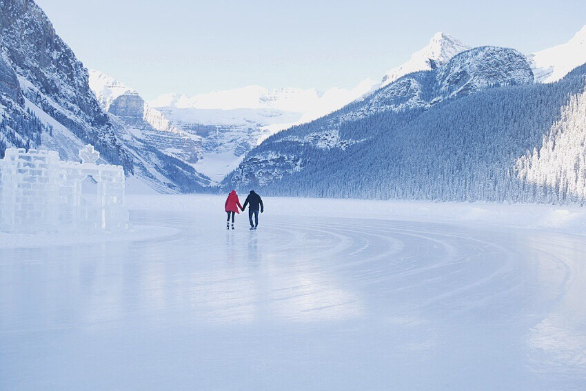 Skating at Lake Louise.