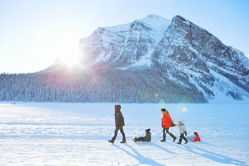 Family Sled Day at Lake Louise.