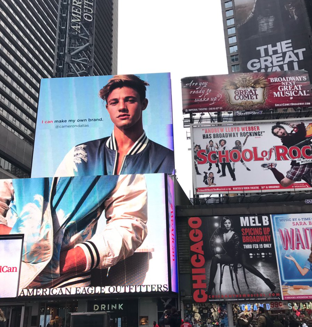 Cameron Dallas appears on Ad in Time Square.