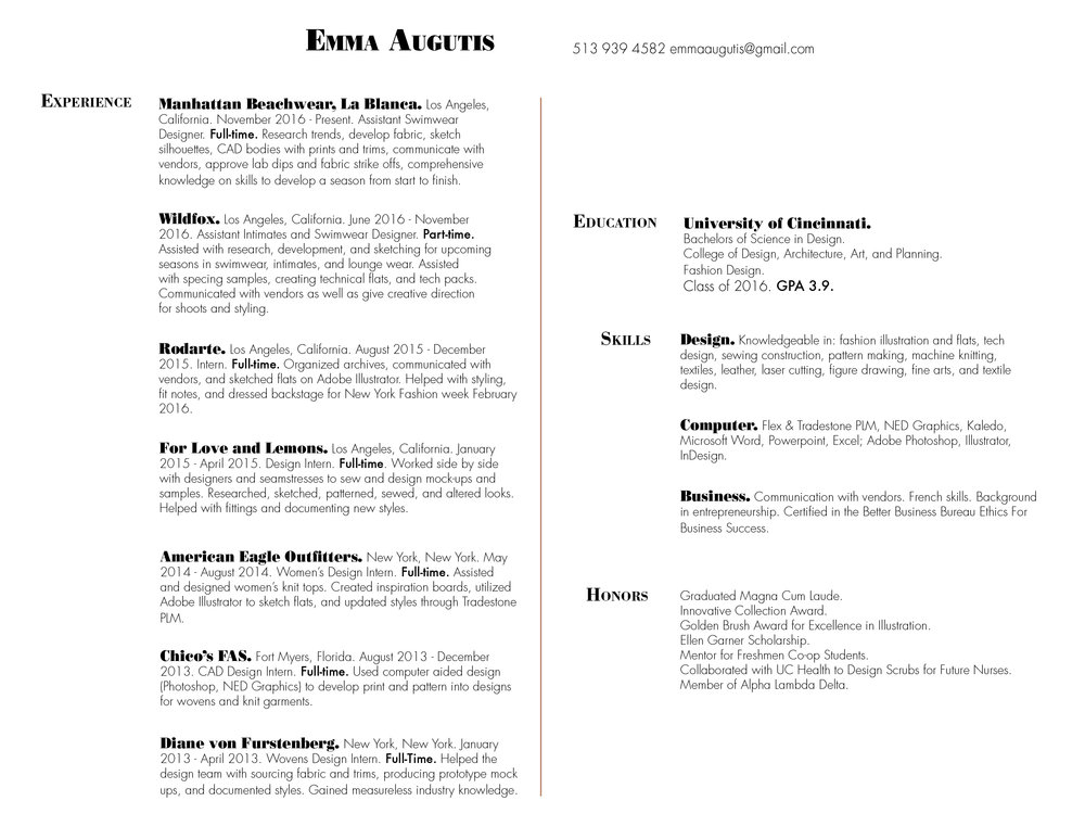 Resume / About — Emma Augutis