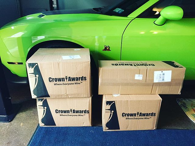 THE TROPHIES ARE IN!!! And they are beautiful!!! 😍 dm if you wanna see them otherwise I'm keeping them a secret on what they look like till the season starts!!! #moparsofwestchester #carshow #cruisenight #dodge #challenger #crownawards #trophy #award #🏆 #spring #summer #fun #moparornocar #mopar
