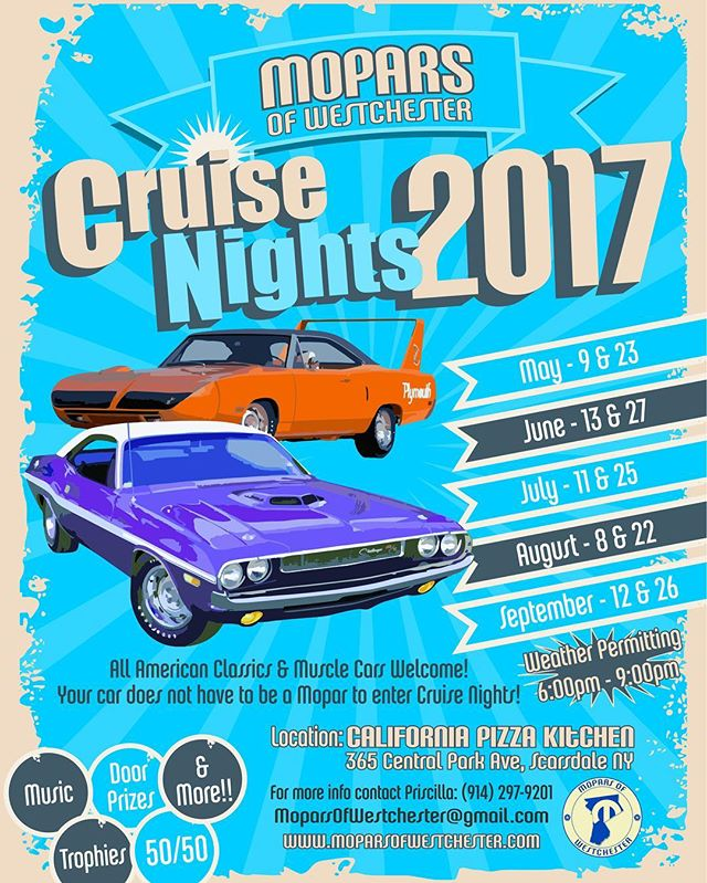 OUR FIRST CRUISE NIGHT IS TONIGHT!!! Hope to see you there!!! #moparsofwestchester #carshow #cruisenight #californiapizzakitchen #cpk #mopar #trophies #fun #spring #summer #music #cars #classics #antiques #musclecar