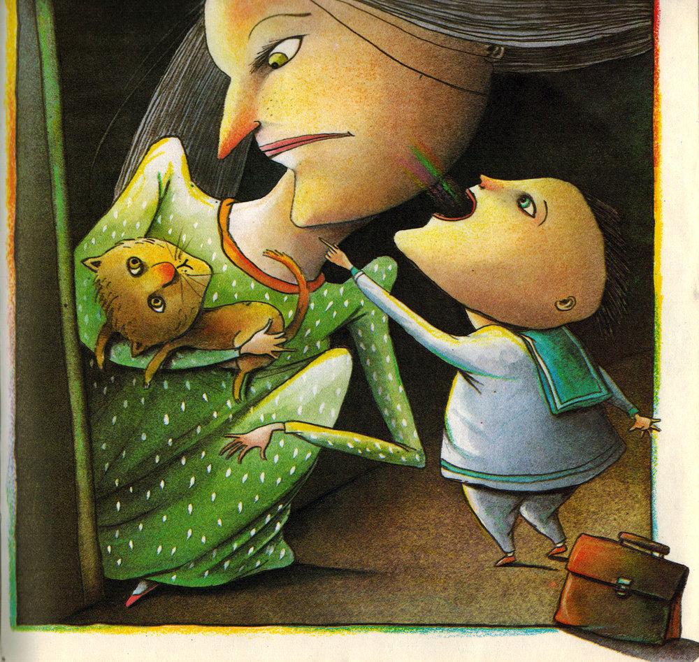 """Los primeros libros ilustrados - A lo largo de los años volvía de vez en cuando a la parte del librero donde estaban los libros de cuando """"éramos pequeñas"""" para hojear tal o cual dibujo. No sabía que acabaría ilustrando libros para niños. Ahora me resulta evidente y gracioso ver cómo ciertas características de esos libros me han marcado y están de una forma u otra en mis obsesiones y en mi trabajo."""