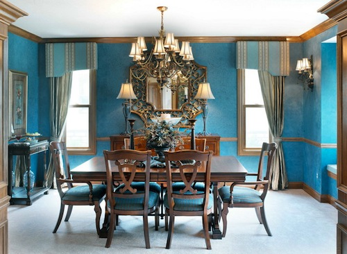 Brilliant Turquoise Brings This Spacious Dining Room To Life Using So Much Color Might Seem Like A Bold Design Choice But Works Here Without Overwhelming