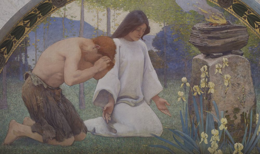 Detail from Religion by Charles Sprague Pearce.