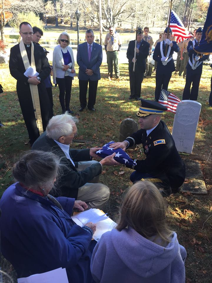 The soldiers have no relatives that could be located, so the U.S. Army honor guard presented the flag to George Pouder, who gave it to the St. Stephen's.